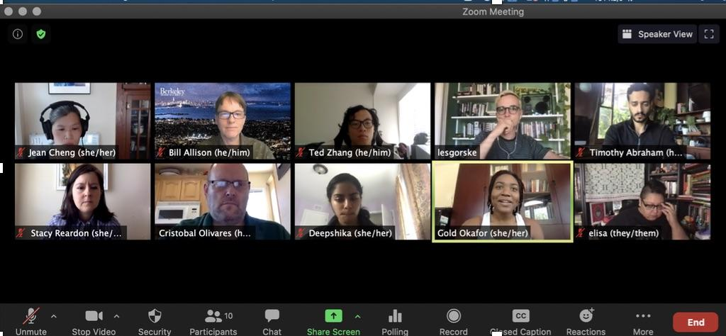 Berkeley Changemaker Technology Innovation Grant Review Committee in Zoom